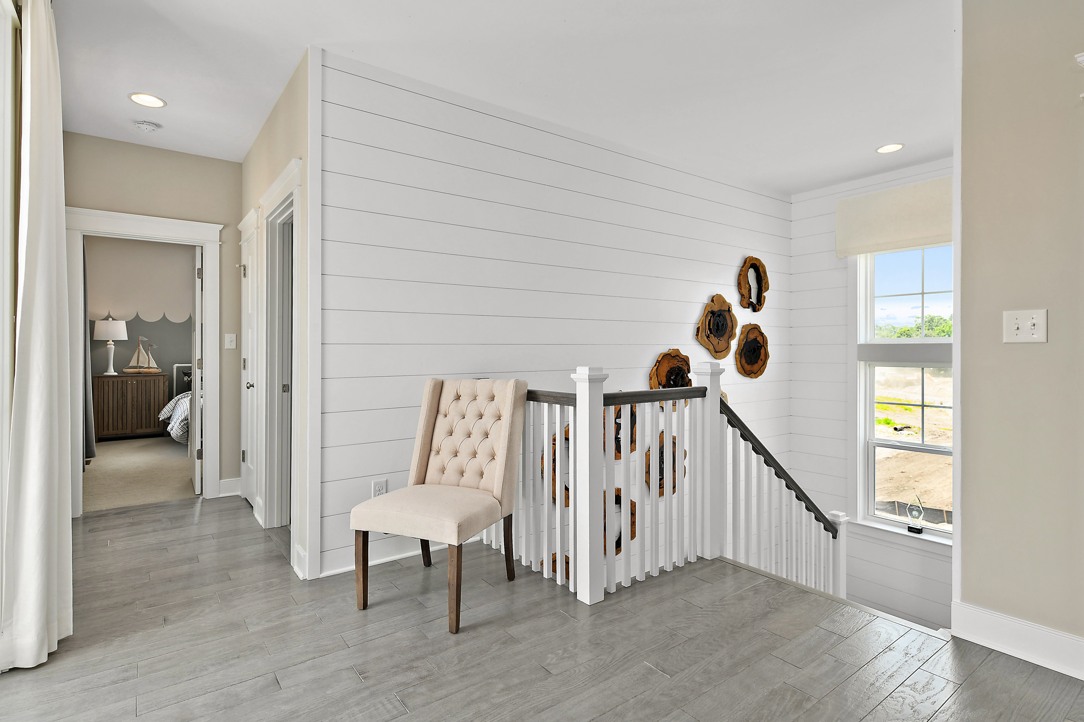Upper Level Landing with Stairs and Shiplap Treatment