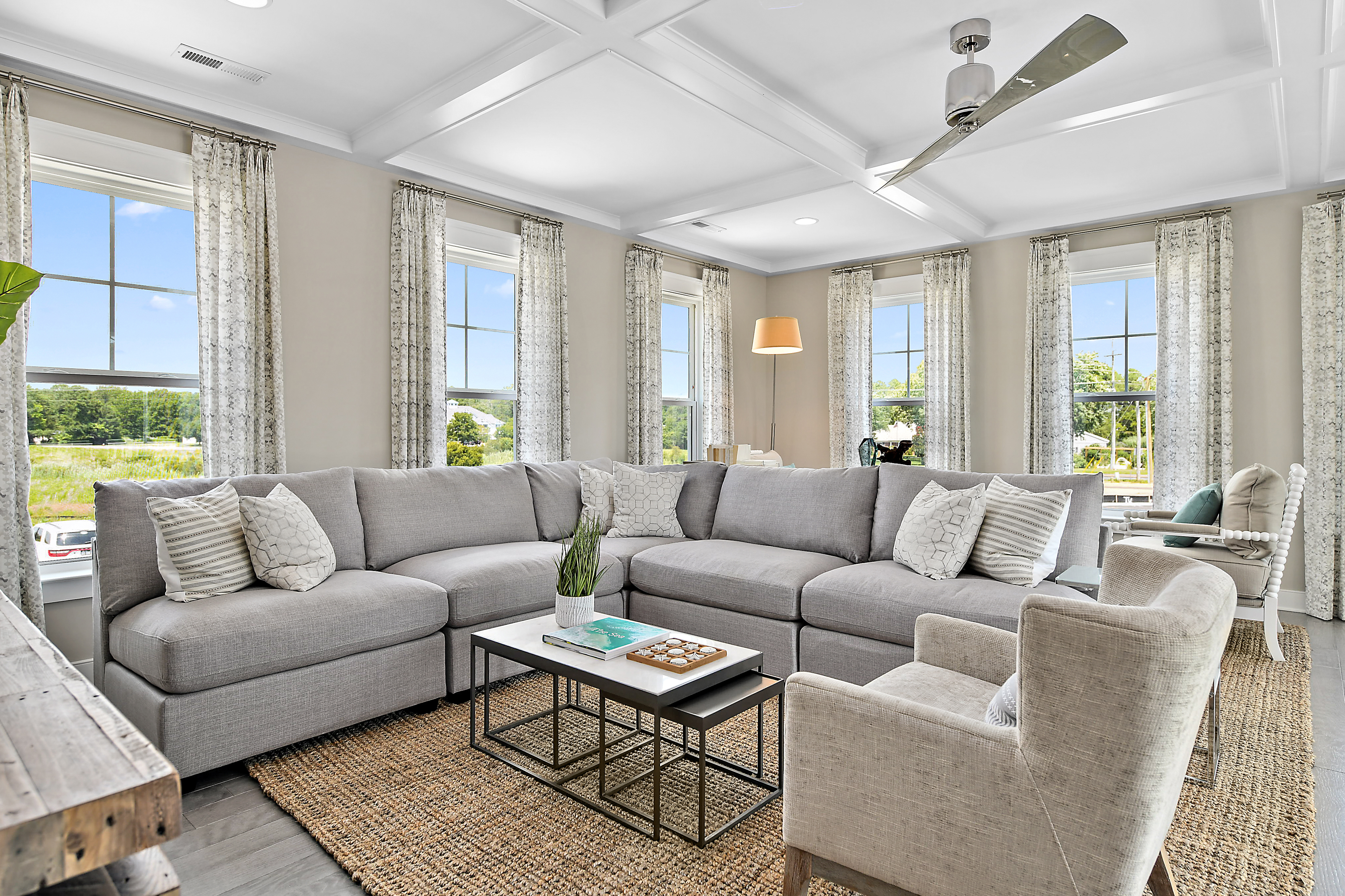 Great Room with Large Sectional and Coffered Ceiling