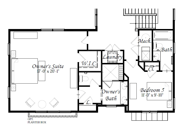 Optional Upper Level Plan w. Bedroom 5