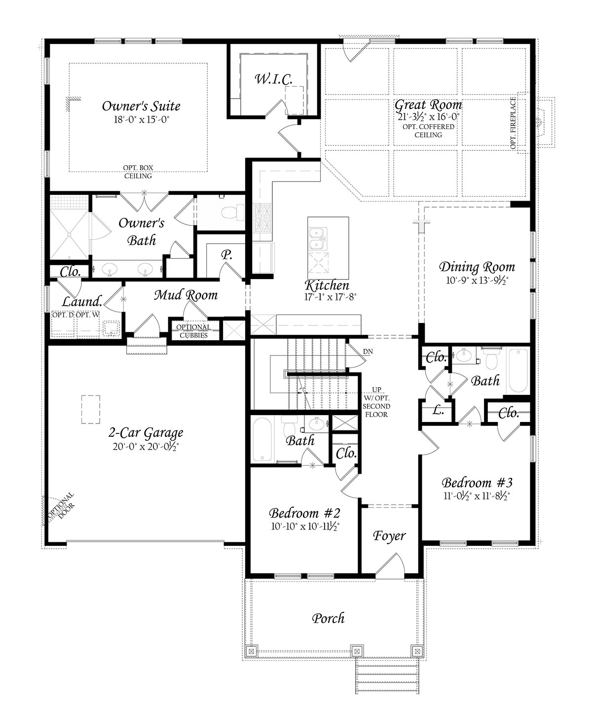 Glendale - 3x0 - Master Floorplan - Elev A - Main Level 91219