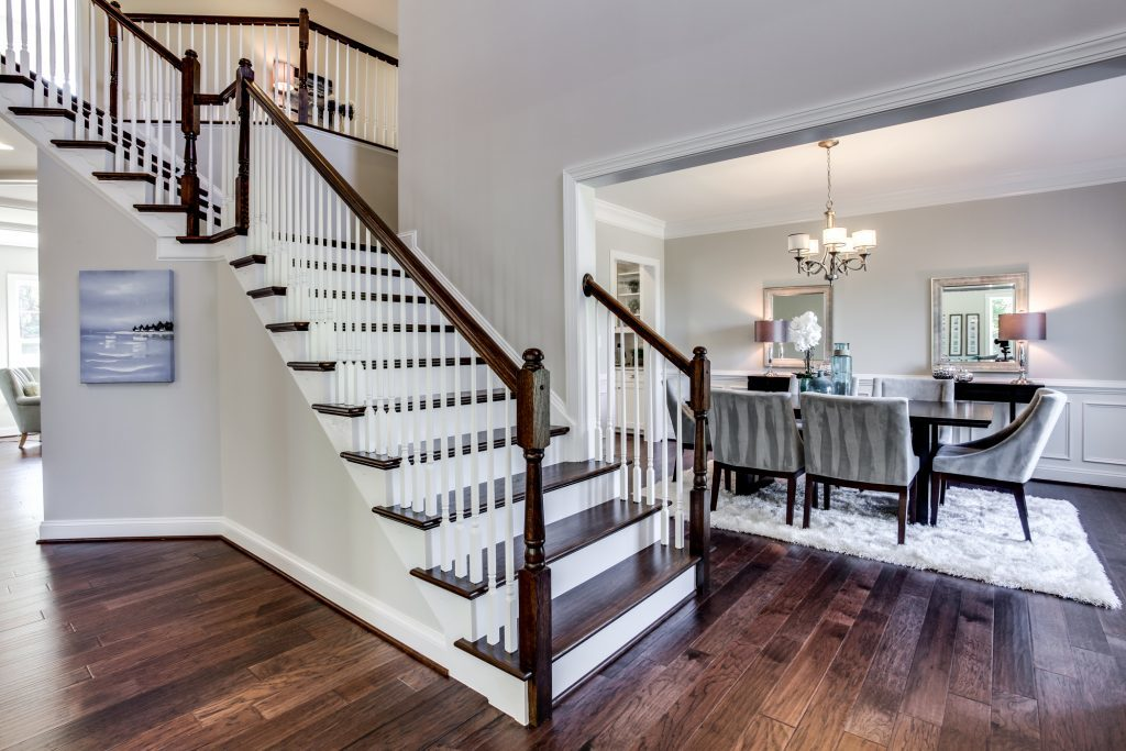 captivating stair living room dining | cats barrett dining room stairs | Evergreene Homes