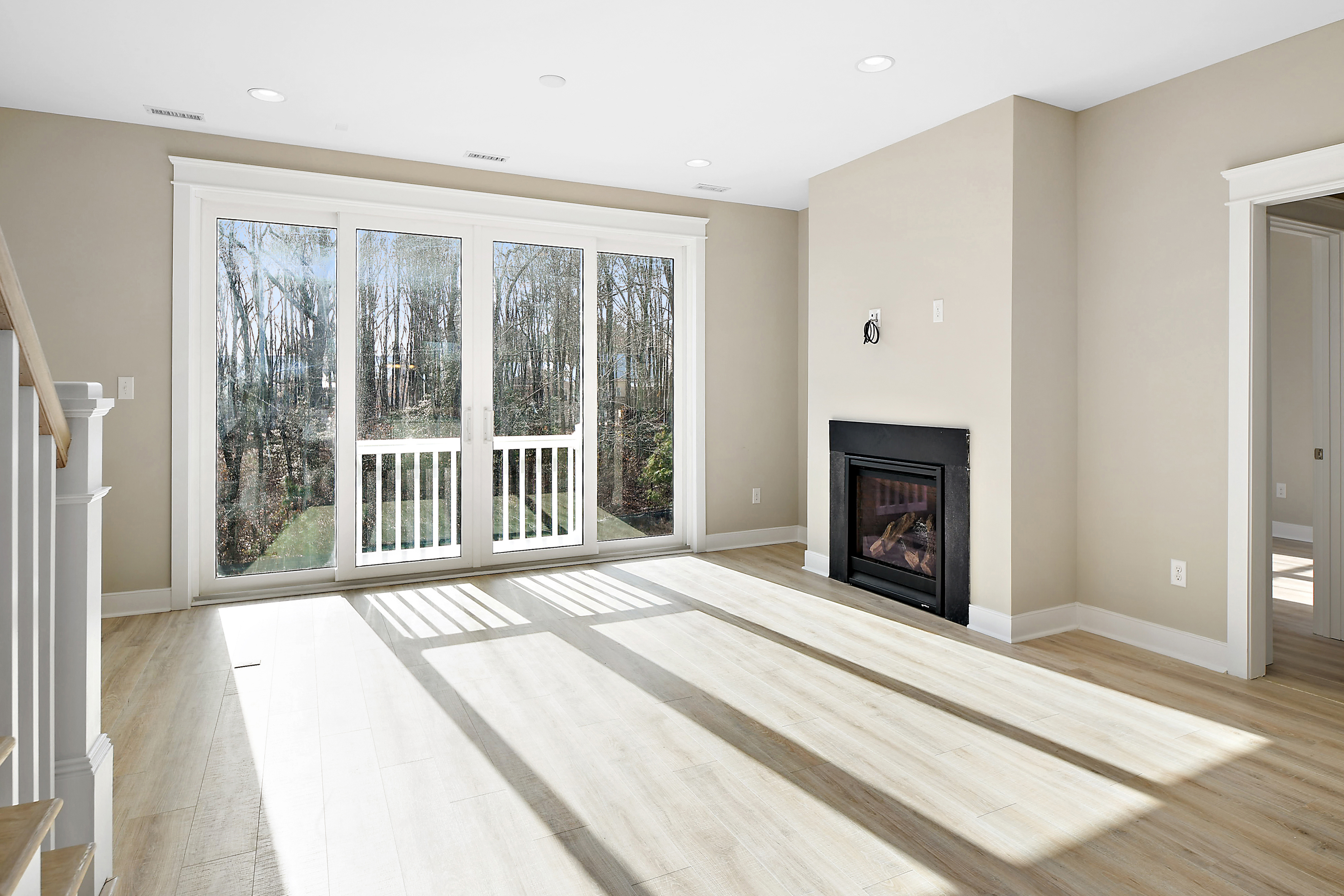 Living Area Rear Windows and Fire Place