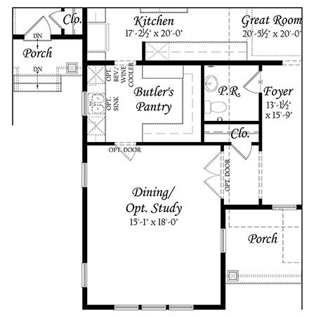 Robey 3x0 Floor Plan Master Opt Main Level Enlarged Butler S Pantry Resize 622020 B Evergreene Homes