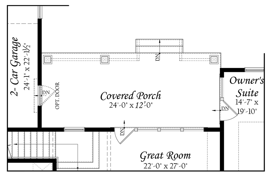 WEB Greenwood 3x0 - Floor Plan - Master - 11242020 - Opt Main Level Rear Covered Porch