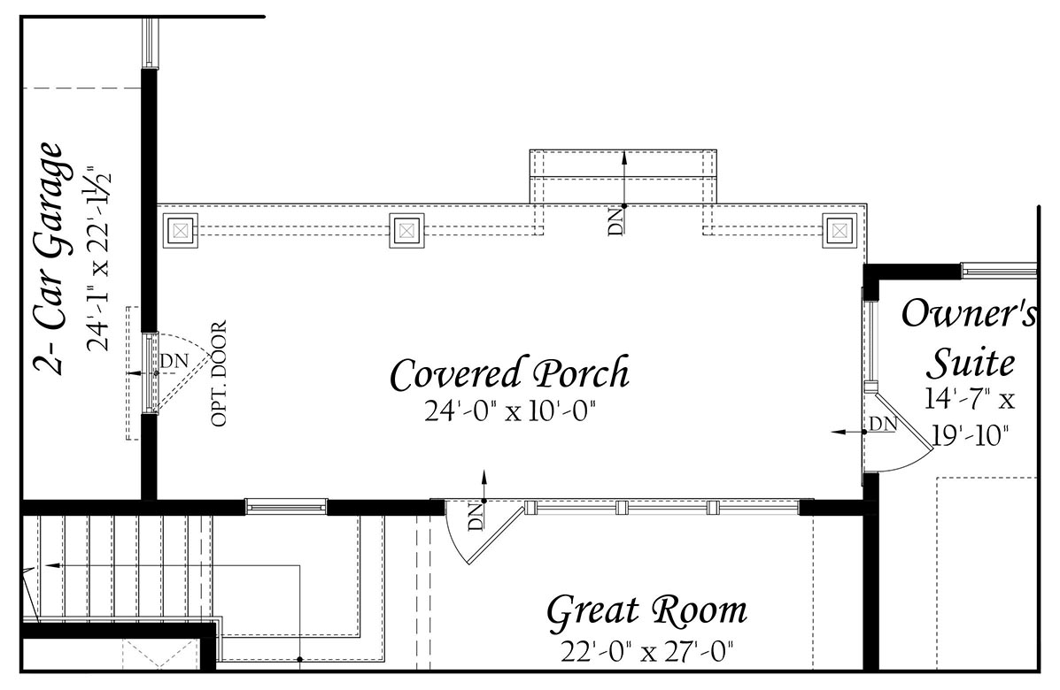 Greenwood 3x0 - Floor Plan - Master - Opt Main Level Rear Covered Porch A